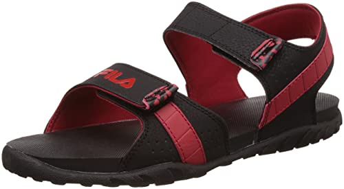 e74a9ff69c4a Fila Men s Hamlin Black and Fila Red Sandals and Floaters -7 UK India (