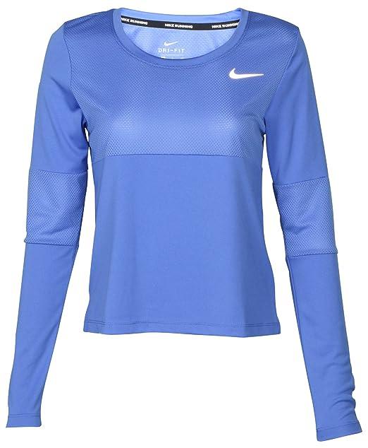 NIKE Women's Dri Fit Long Sleeve City Core Running Top Light Racer Blue Small
