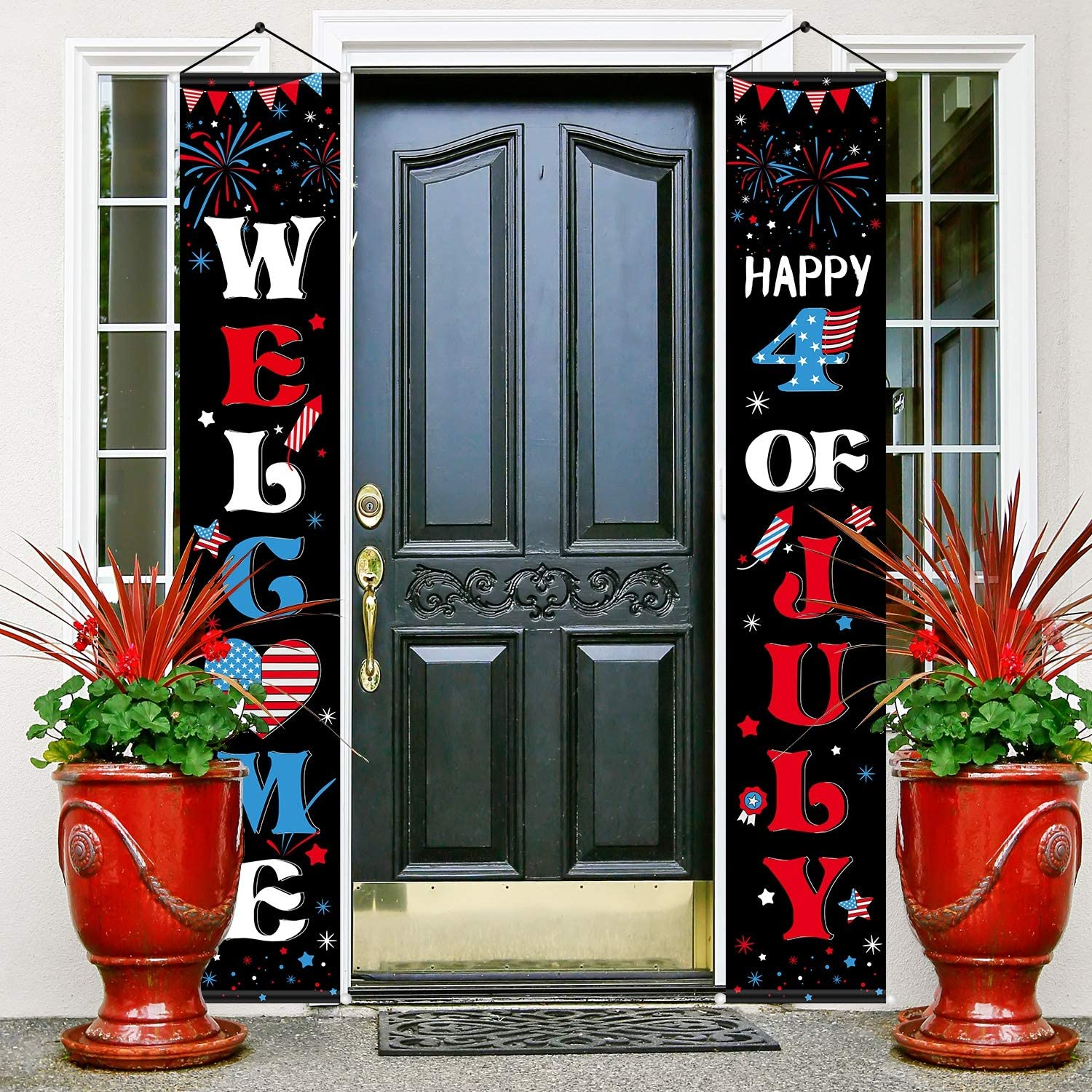 Patriotic Decoration Porch Sign Independence Day Party Stars and Stripes Pattern Welcome Banner Hanging Signs Set for Indoor Outdoor Memorial Day 4th of July Party Decorations (Black)