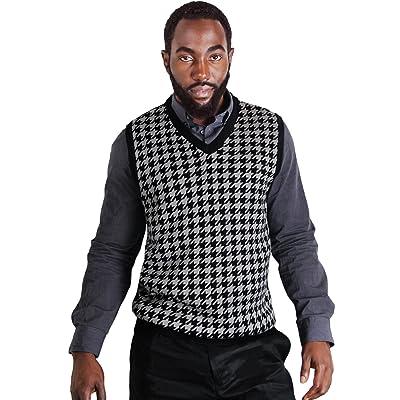 Blue Ocean Big Men Houndstooth Jacquard Sweater Vest
