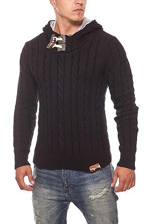 15d1148eff2b07 Tazzio Fashion Pullover Herren Strick-Pullover Winter-Pullover Weiß Hoodie   Amazon.de  Bekleidung
