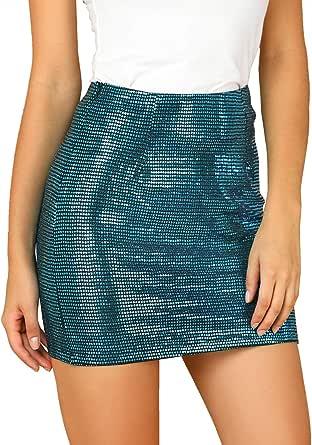 Allegra K Falda Lápiz Elástico Lentejuelas Brillantes Cintura Alta Minifalda Ajustada para Mujer