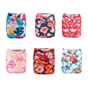 ALVABABY Pocket Cloth Diapers Reusable Washable Adjustable for Baby Boys and Girls,6 Pack with 12 Inserts 6DM49