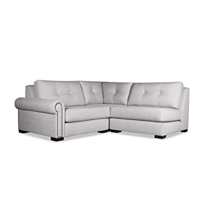 South Cone Home Chelsea Buttoned Modular Sectional Left Arm L-Shape Mini, Grey