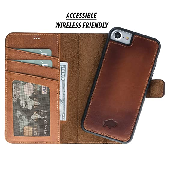 purchase cheap 9e5c8 146dc Burkley Case Detachable Leather Wallet Case for Apple iPhone 8/7 with  Magnetic Closure and Snap-on | Book Style Cover with Card Holders and  Kickstand ...