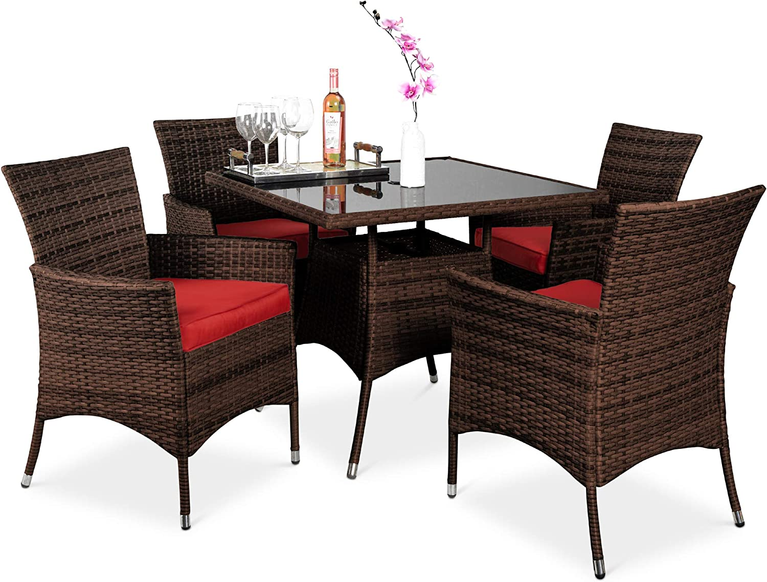Best Choice Products 5-Piece Indoor Outdoor Wicker Dining Set Furniture for Patio, Backyard w/Square Glass Tabletop, Umbrella Cutout, 4 Chairs - Red