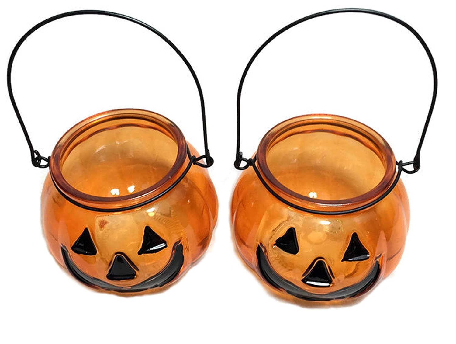 Glass Halloween Candle Holders with Handle ~ Pack of 2 (Jack -O-Lantern) Greenbrier