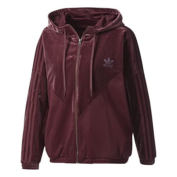 4f900cae277d adidas Womens Velvet Vibes Oversized Hooded Track Top CW0270 Track Top  Maroon  Amazon.co.uk  Clothing