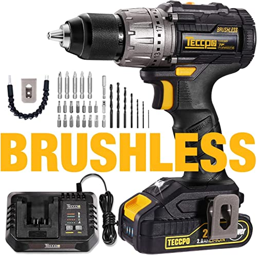 Cordless Drill Brushless, 20V MAX TECCPO 530 In-lbs Compact Cordless Drill, 30mins Fast Charger 4.0A, 2.0Ah Li-ion Battery, 21 1 Torque Setting, LED Light, 29pcs Accessories – TDHD02P