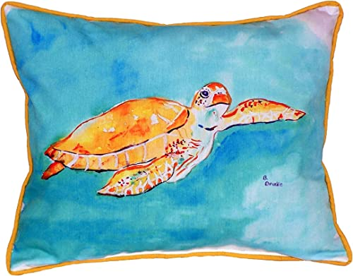 Betsy Drake Brown Sea Turtle 16×20-inch Indoor Outdoor Pillow