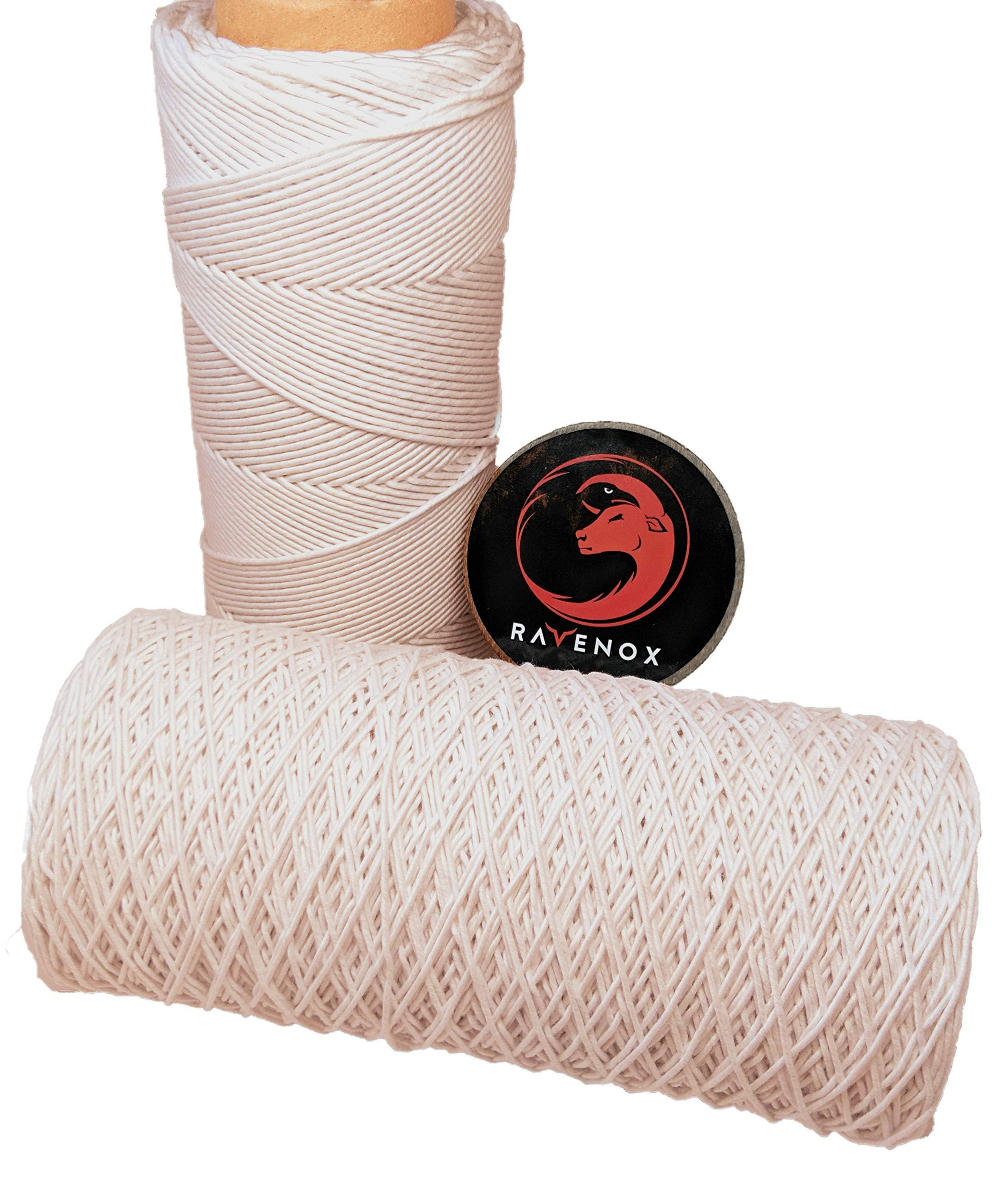Ravenox Cotton Macrame Cord | Made in The USA | 100% Cotton (Natural White)(220 ply - 6.8 mm x 1150 ft)| Handmade Twine for DIY Projects, Plant Wall Hangar, Crafts, Decorations, Knitting and Knotting