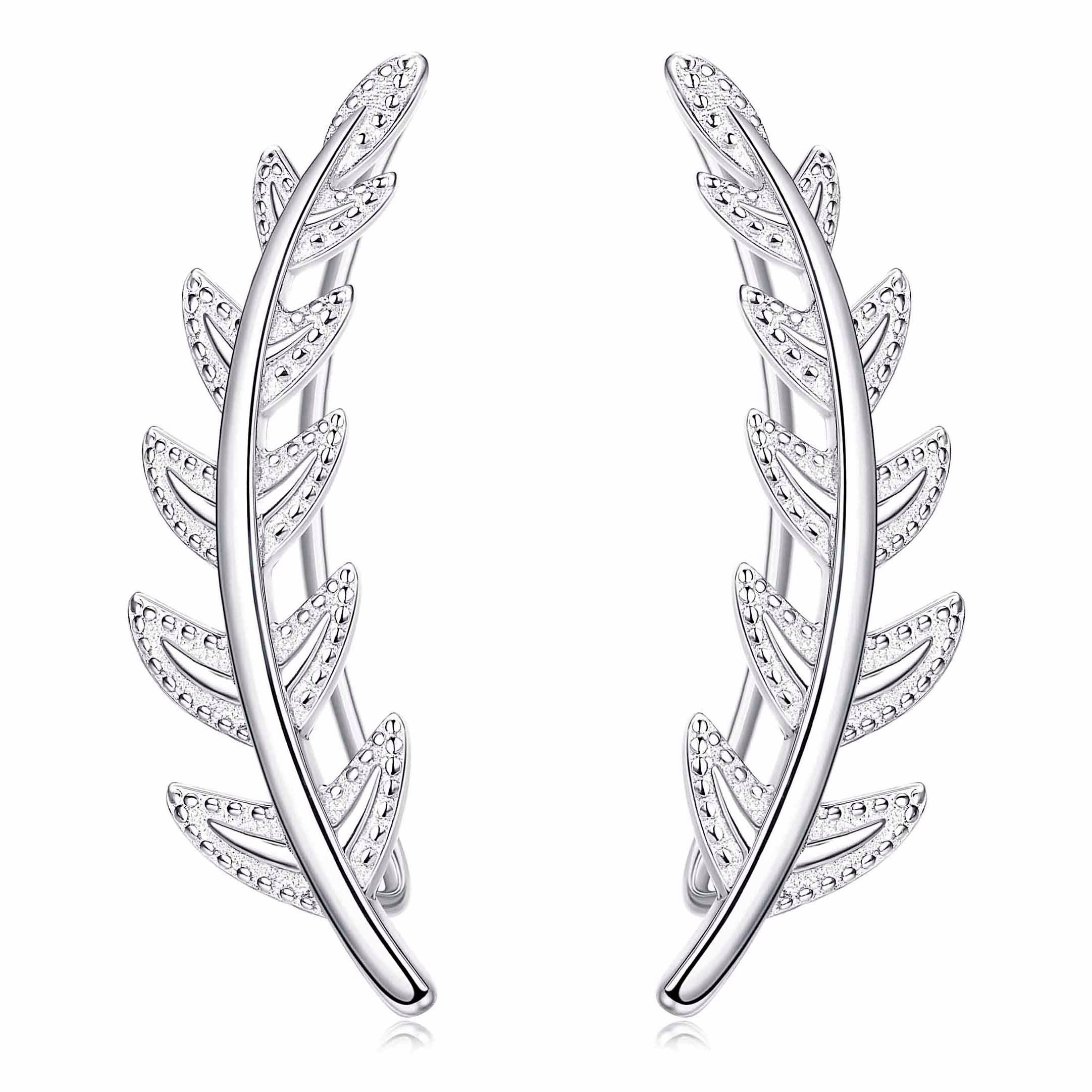 FUNRUN JEWELRY Leaf Sterling Silver Ear Crawler Cuff Earrings for Women Girls Climber Earrings Hypoallergenic