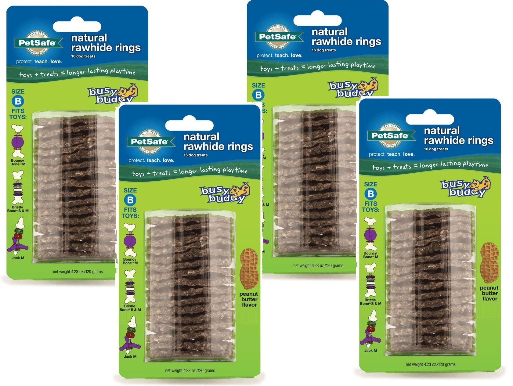 (4 Pack) PetSafe Busy Buddy Refill Ring Dog Treats for select Busy Buddy Dog Toys, Peanut Butter Flavored Natural Rawhide, Size B