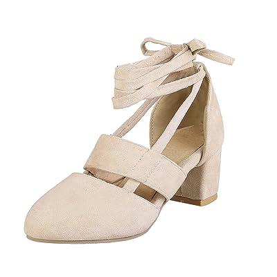 AIYOUMEI Sandales Lacets Cheville Escarpins Talon Carré Bout Rond Chaussure Velours Femme Confortable