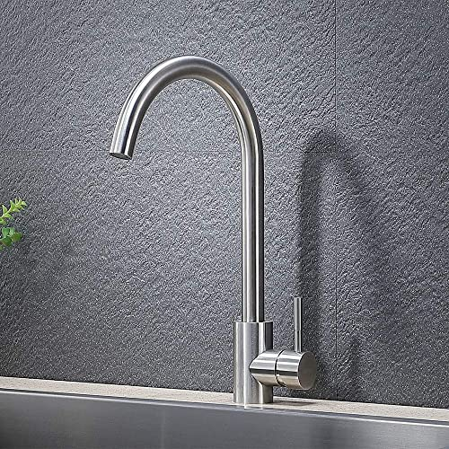 VAPSINT 360 Degree Swivel Good Valued Modern Hot Cold Mixer Stainless Steel Single Handle Brushed Steel Bar Kitchen Sink Faucet, Easy Installation Brushed Nickel Kitchen Faucet