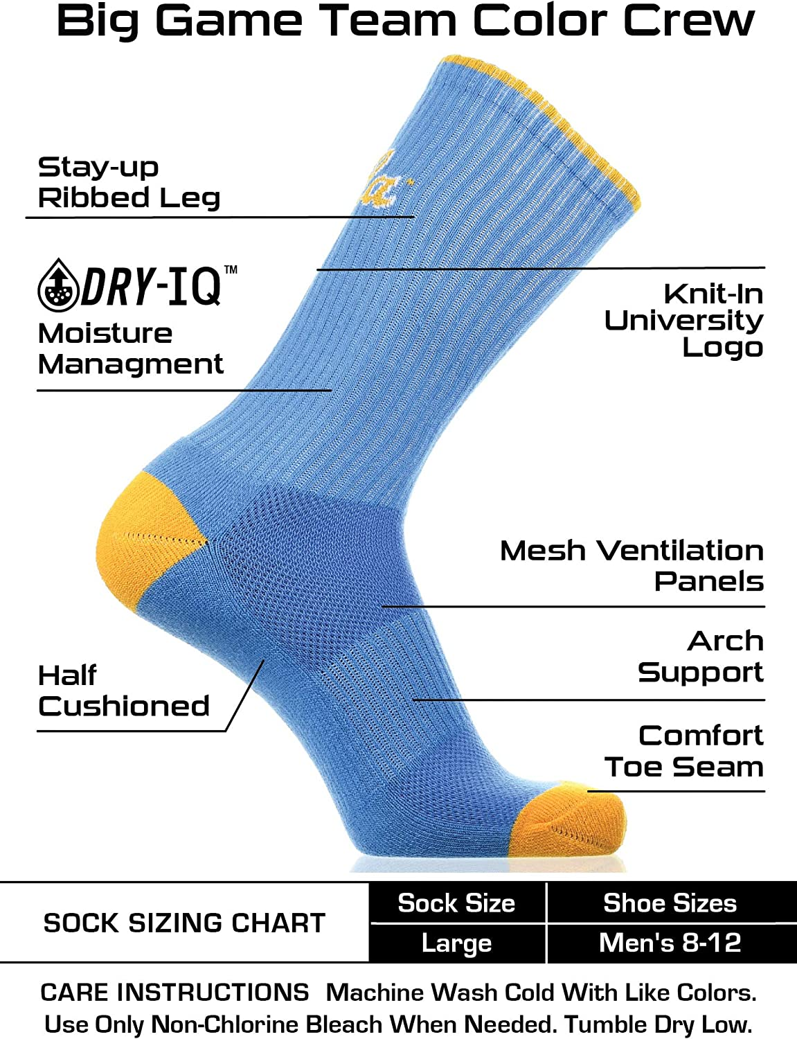 TCK UCLA Bruins Socks Campus Legend Crew Length