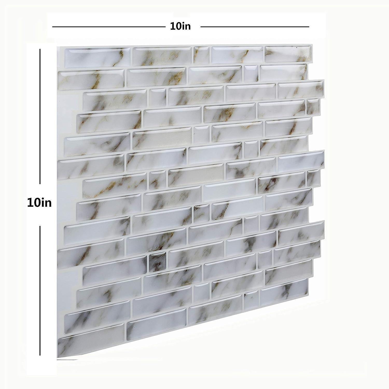 NEAER 6 Pcs//12 Pcs Tile Stickers Self Stick Backsplash Tile Bathroom and Kitchen Wall Stickers 20x20cm Peel and Stick Backsplash Tile Sticker