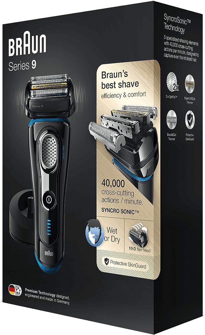 Braun Series 9 9240 s - Afeitadora eléctrica para hombre de lámina, en húmedo y seco, máquina de afeitar barba con base cargadora, negro/azul, sólo recargable, inalámbrico: Amazon.es: Salud y cuidado personal