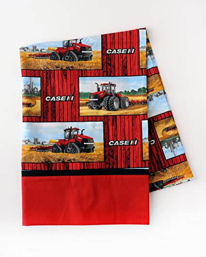 Case IH Tractor Pillow With Barnwood Background