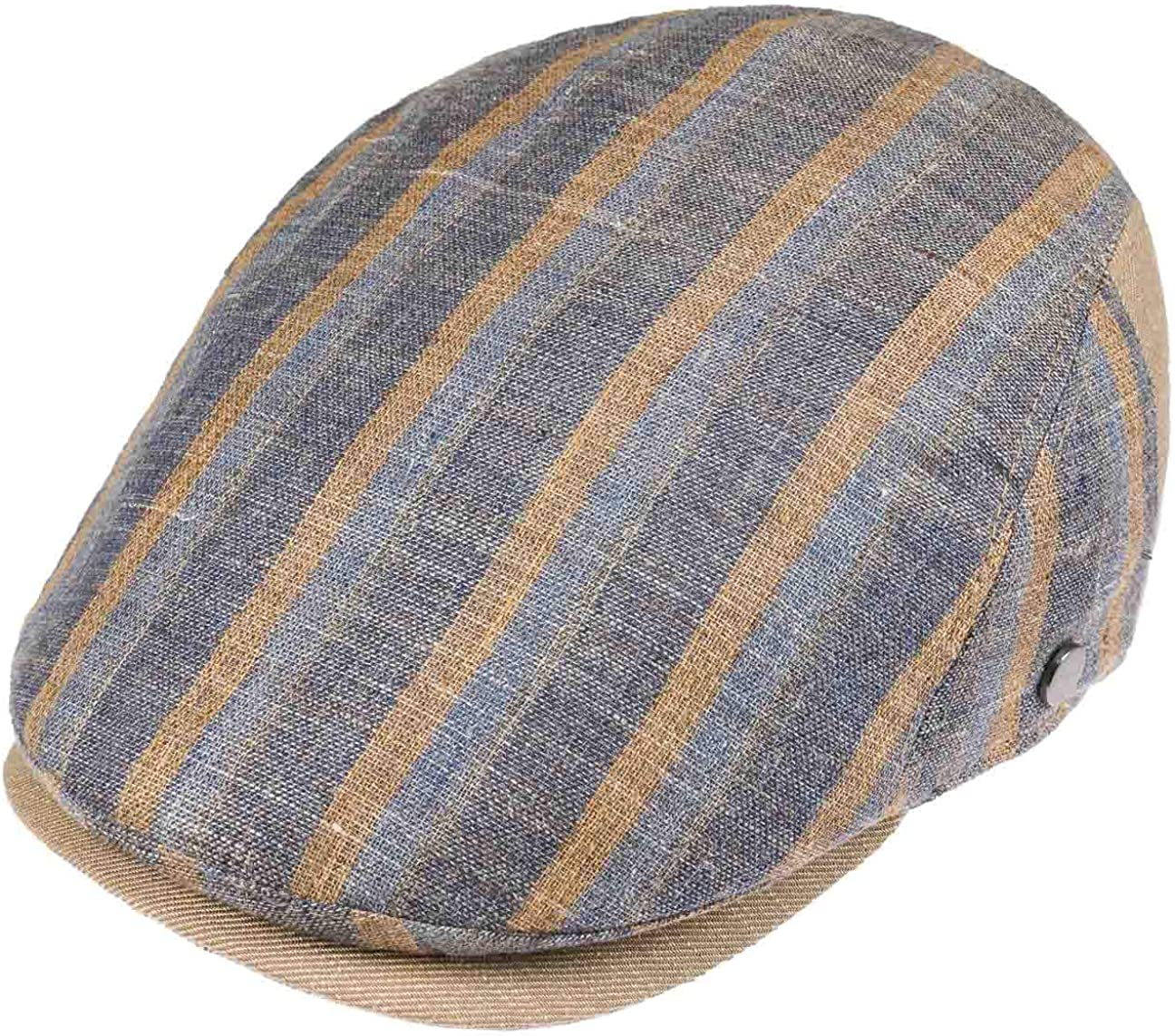 Made Italy Cappello Piatto Berretto Cotton cap con Visiera Lierys Coppola in Lino e Cotone Stripes Uomo Fodera Fodera Primavera//Estate
