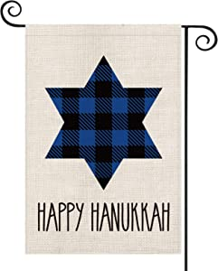 AVOIN Happy Hanukkah Buffalo Plaid Star of David Garden Flag Vertical Double Sized, Jewish Holiday Yard Outdoor Decoration 12.5 x 18 Inch
