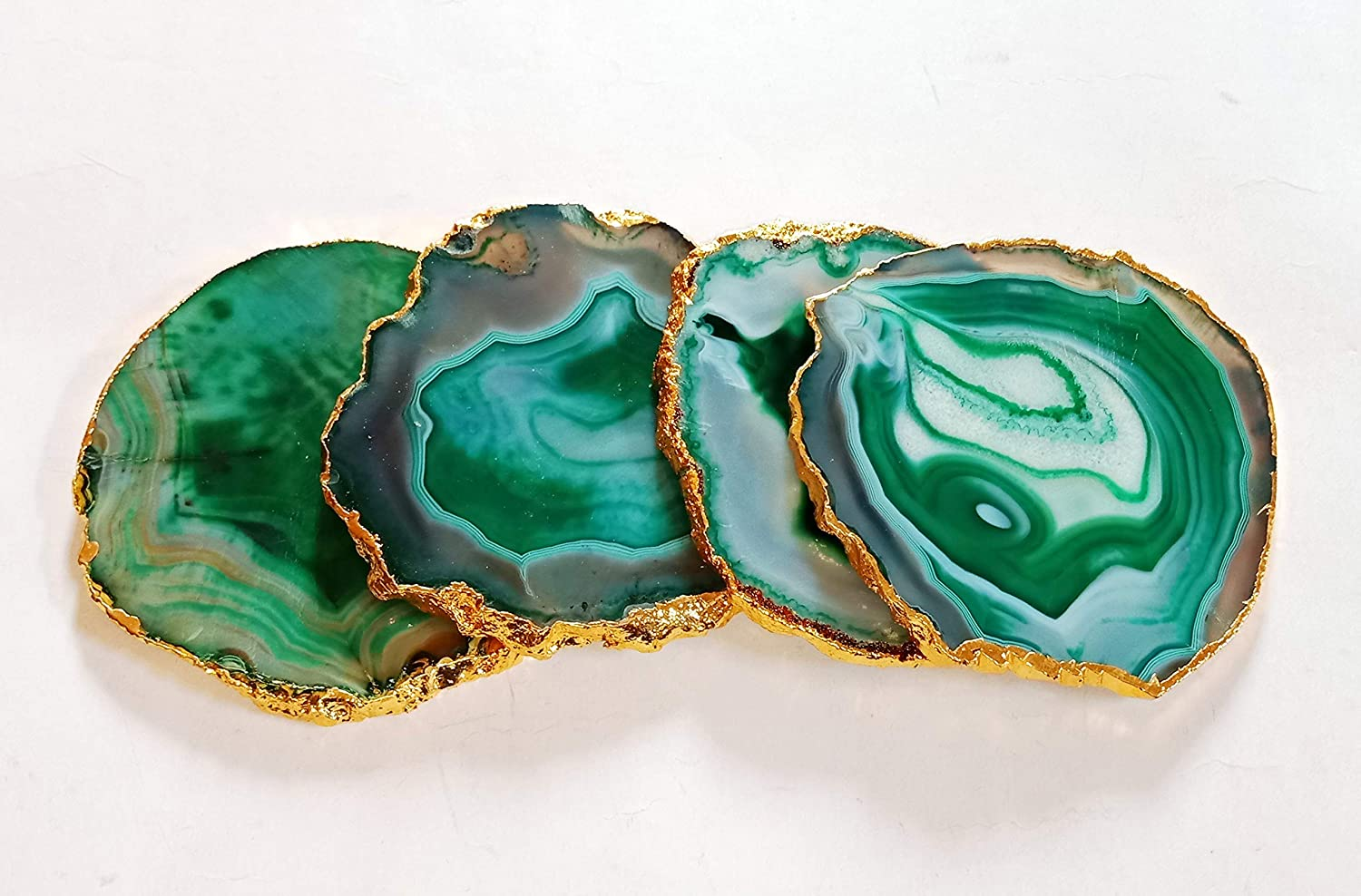 """Green Agate Coaster 3""""-4"""" Slice Genuine Green Coasters Drink Agate Gold Edge with Rubber Bumper Cup Mat Set of 4 Drink Ware Pad Gemstone Coaster Crystal Slice Office Decor"""