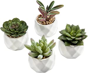 MyGift Mini Artificial Succulent Plants in Geometric Ceramic Planter Pots, Set of 4