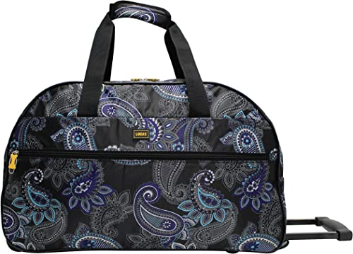 Lucas Designer Carry On Luggage Collection – Lightweight Pattern 22 Inch Duffel Bag- Weekender Overnight Business Travel Suitcase with 2- Rolling Spinner Wheels Paisley