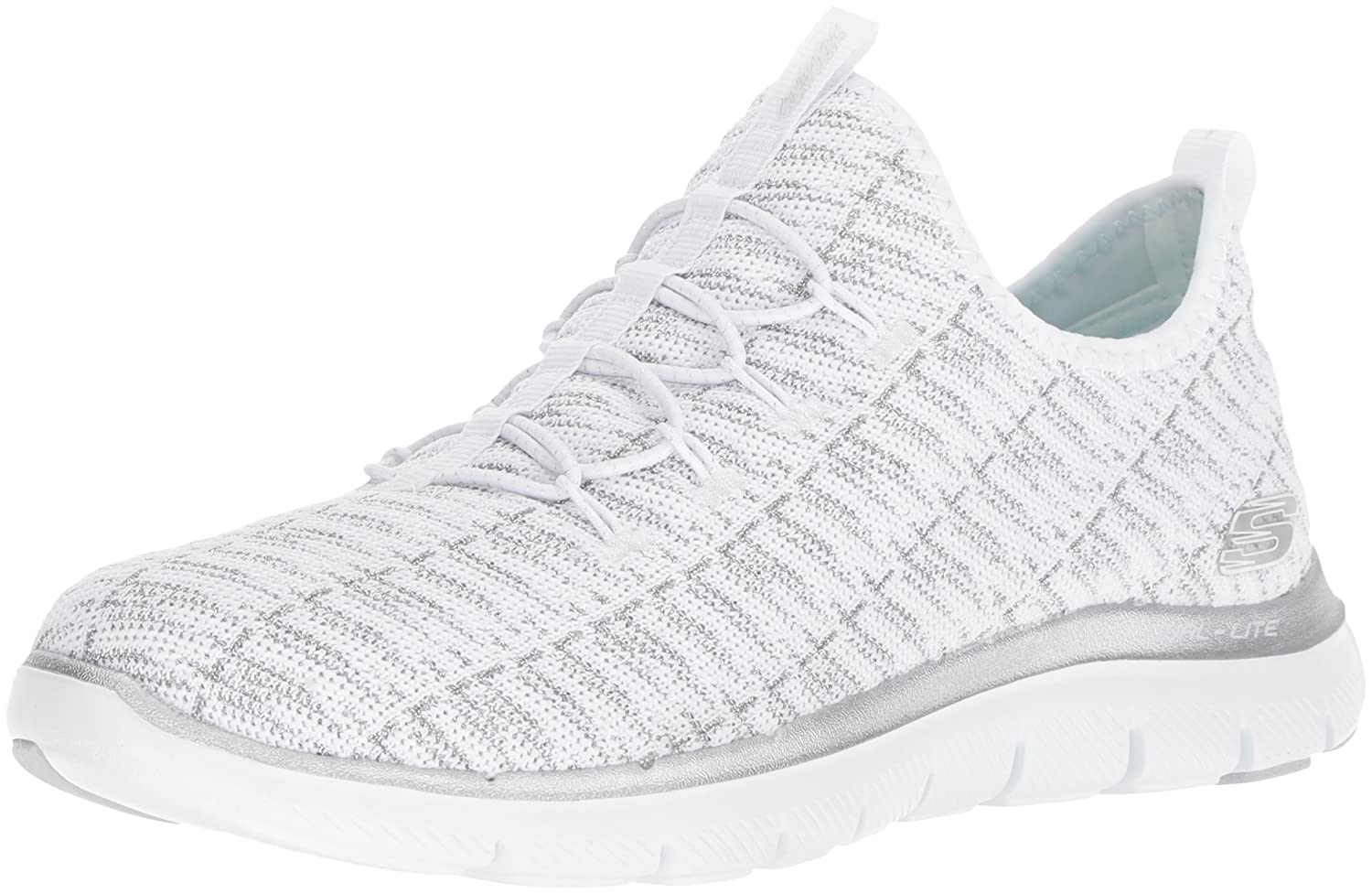 Skechers Women's Flex Appeal 2.0 Insight Sneaker B01MSPP5L8 9 B(M) US|White/Silver