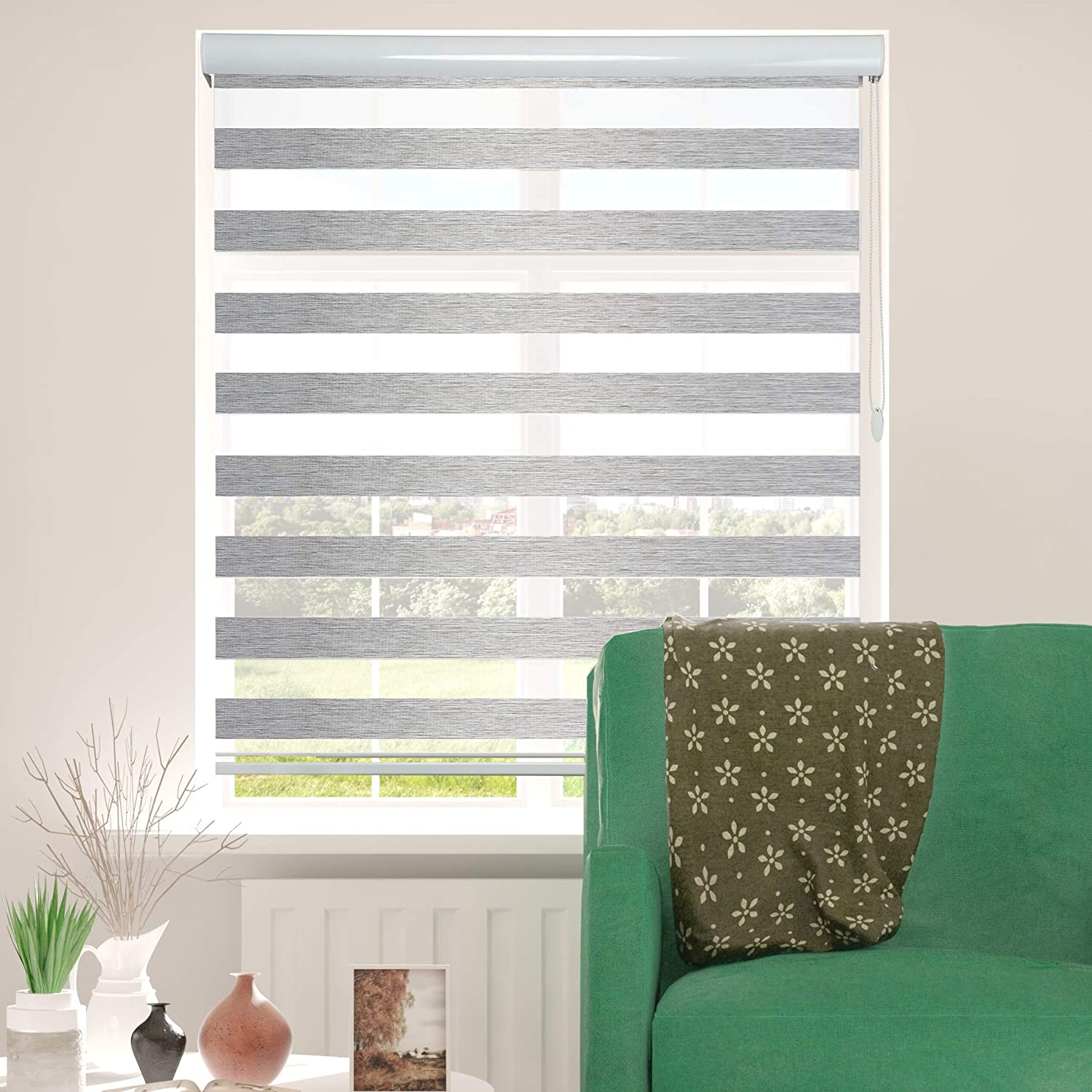 ShadesU Window Shades Dual Layer Zebra Roller Sheer Blind Light Filtering Window Treatments Privacy Light Control for Day and Night(Maxium Height 72inch) (Grey Color) (Width 34inch)