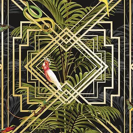 Statement Feature Wallpapers Oiseaux Tropical Palmiers Papier Peint