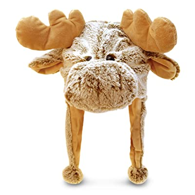 "Puzzled 18"" Soft Moose Plush Hat Cozy Party Costume Head Accessories, Moose Costume Faux Fur Hat, Fluffy Moose Cap, Funny Beanie Stuffed Animals Hat, Warm Fleece Crazy Hats, Kids Winter Hat - One Size: Clothing"