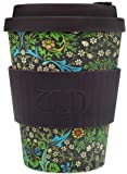 Ecoffee Cup + William Morris: Blackthorn with Brown Silicone 12oz, Reusable and Eco Friendly Takeaway Coffee Cup
