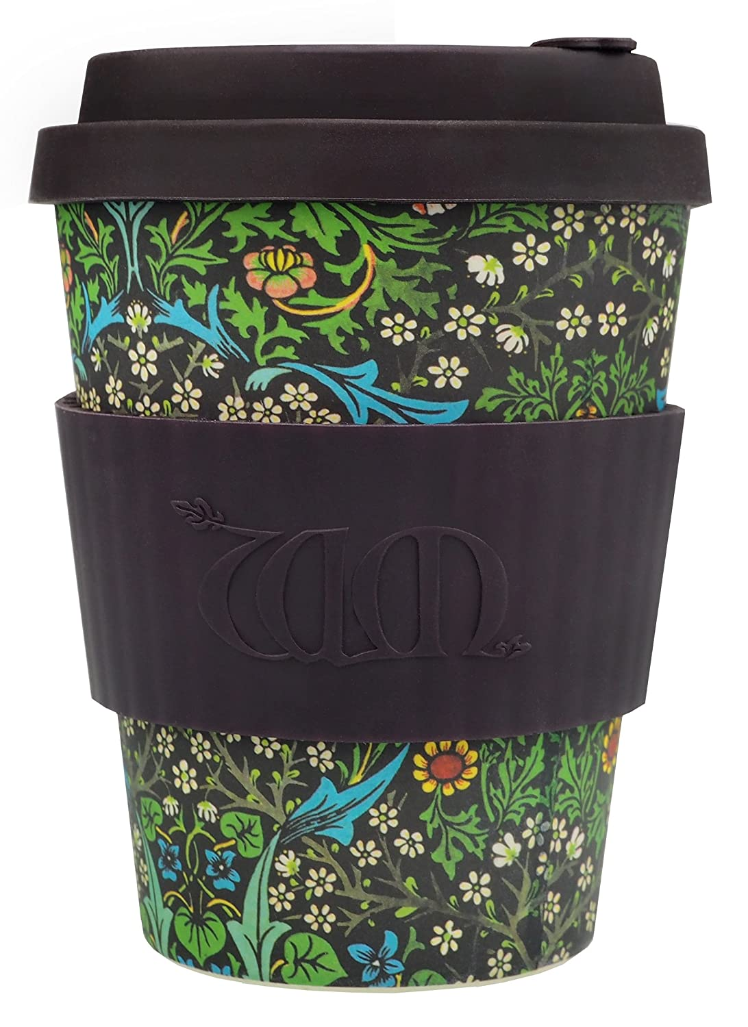Ecoffee Cup Bamboo - 340 ml William Morris Blackthorn With Brown Silicone 600 600