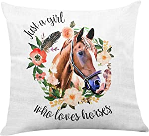 Yuzi-n Just A Girl Who Loves Horses Floral Pillow Covers for Home/Girl Room/Bedroom/Nursery Decor,Horse Pillow Covers Gifts for Teen Girl Equestrian Horse Lover Horse Rider 18 x 18 Inch