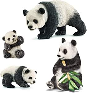Liberty Imports Cute Giant Panda Family Toy Figures with Cubs - Safari Zoo Animals Plastic Figurines - Educational Detaild Gift Set for Kids Children (4 Pieces)