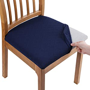 Smiry Stretch Jacquard Dining Chair Seat Covers, Removable Washable Anti-Dust Upholstered Chair Seat Cover for Dining Room, Kitchen, Office (Set of 6, Navy Blue)