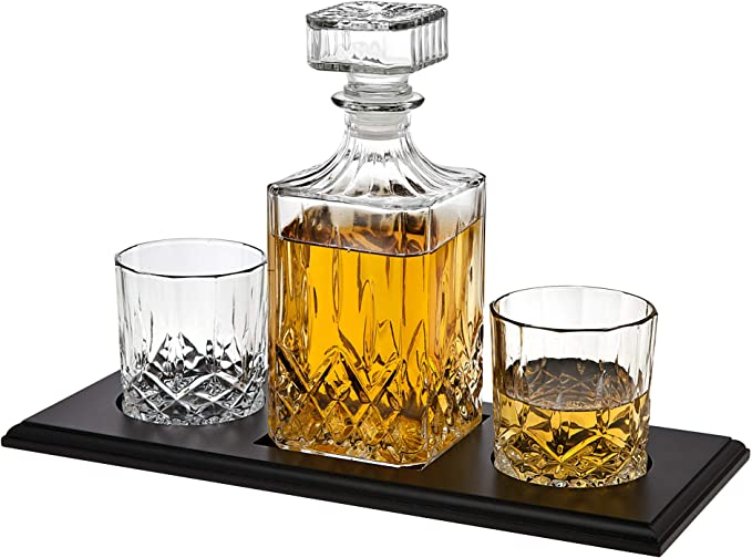 Holden Glass Decanter and Set of 2 Spirit Glasses Man Cave Bar Fathers Day Gift