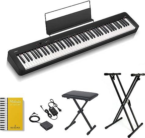 Casio CDP-S100 - Piano digital de 88 teclas pesadas, soporte con abrazadera y banco con altura regulable ffalstaff®, fuente de alimentación y pedal, ...