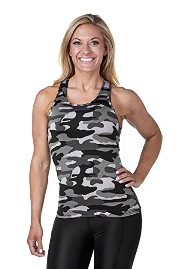 15595ac446db2 West Zero Two Seamless Camo Tank Top Racer Back Yoga Running Training (Xs,  Black