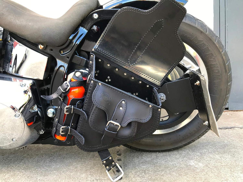 Hades Black Swing Bag Harley Davidson Softail Swing HD Black Drink Holder Orletanos Leather Bag Motorcycle Softail Fatboy Heritage Biker Bag Genuine Leather Slim Star Frame Frame Bag