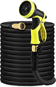 Delxo 100Ft Water Hose,Expandable Garden Hose with 9-Function High-Pressure Spray Nozzle,Black Heavy Duty Flexible Hose, 3/4