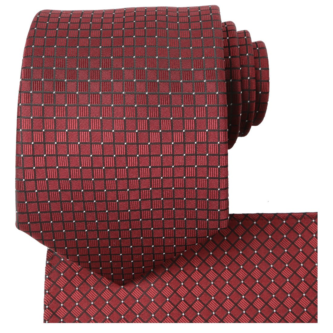 KissTies Burgundy Red Tie Set Solid Necktie + Hanky + Gift Box