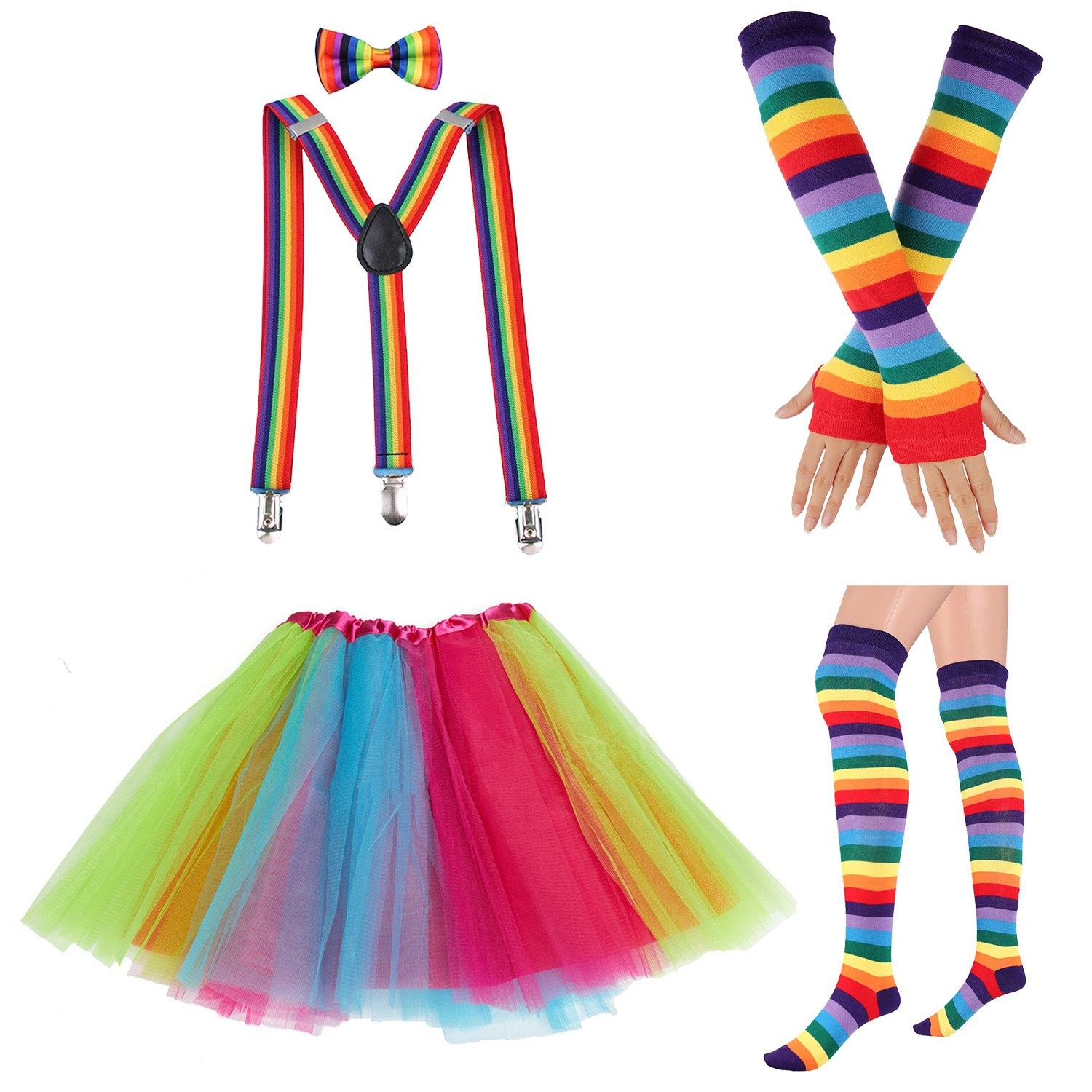 80s Womens Accessory,Tutu Skirt,Unicorn Headband, Unicorn Wigs Rainbow Long Gloves Socks,Rainbow Adjustable Suspenders w/Bow-tie (2-C)