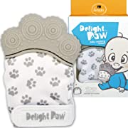 Delight Paw | Baby Teething Mitten | Mom Designed for Self Soothing Pain Relief | Hygienic Travel Bag | Mittens BPA Free | Like Munch Mitt | Baby Boy or Baby Girl | Babies 3-12 Months | Gleeful Gray
