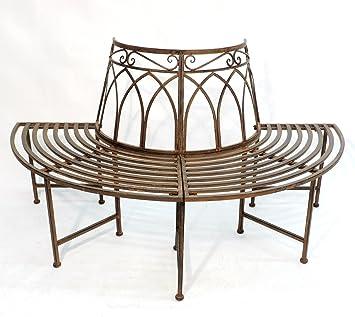 Rundbank banc de jardin demi-lune en métal vieilli: Amazon ...
