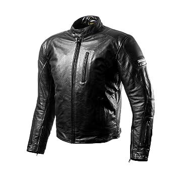 Shima HUNTER BLACK, Chaqueta de cuero para hombre, Verano Vintage Retro, Protector de espalda, Negro, XL: Amazon.es: Coche y moto