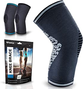 POWERLIX Knee Compression Sleeve Support Brace for Men & Women – Knee Braces for Knee Pain Relief, Working Out, Running, Sports, Strain, Swelling, Injury, Meniscus Tear, Arthritis – Check Sizing Chart