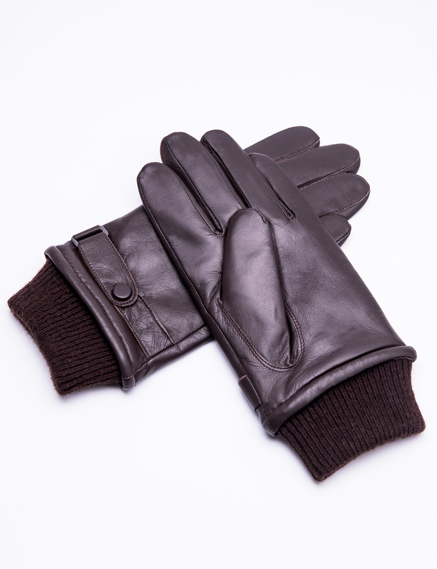 YISEVEN Men's Buttery-Soft Lambskin Leather Gloves Fleece Lined Spring Winter Hand Warm Fur Heated Lining Dress and Motorcycle Driving Real Luxury Stylish Holiday Xmas Gift, Brown 9.5''/L