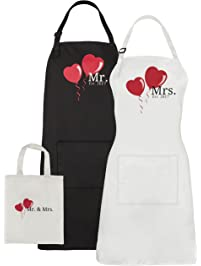 Mr. And Mrs. 2017 Couples Kitchen Aprons His Hers Wedding Gift Set Or Bridal